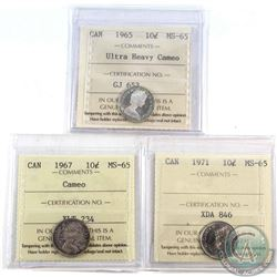 1965 UHC, 1967 Cameo & 1971 Canada 10-cent ICCS Certified MS-65. 3pcs