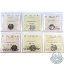 1958, 1959, 1960, 1961, 1962 & 1964 Canada 10-cent ICCS Certified MS-65. 5pcs