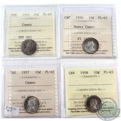 1955 Cameo, 1956 Heavy Cameo, 1957 Cameo & 1958 Canada 10-cents ICCS Certified PL-65. 4pcs