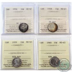 1956, 1958, 1959 & 1960 Canada 10-cents ICCS Certified MS-65. 4pcs