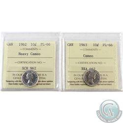 1963 Canada 10-cent ICCS PL-66; Cameo & 1962 Canada 10-cent ICCS PL-66 Heavy Cameo. 2pcs