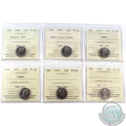 6x Canada ICCS Certified 10-cents PL-66: 1968 Nickel, 1969 Small Date; Cameo, 1970 Cameo, 1971 Cameo