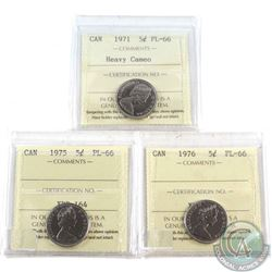 1971 Heavy Cameo, 1975 & 1976 Canada 5-cent ICCS Certified PL-66. 3pcs