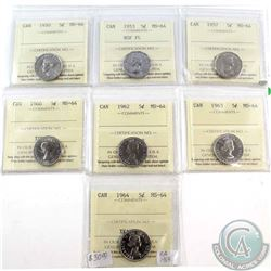 1950, 1953 NSF FL, 1957, 1960, 1962, 1963 & 1964 Canada 5-cent ICCS Certified MS-64. 7pcs