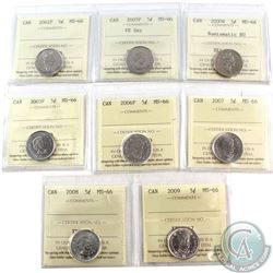 2000W NBU, 2002P, 2005P VE Day, 2005P, 2006P, 2007, 2008 & 2009 Canada 5-cents ICCS Certified MS-66.