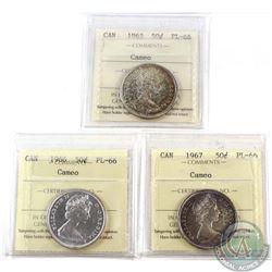 1965, 1966 & 1967 Canada 50-cent ICCS Certified PL-66; Cameo. 3pcs