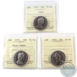 1972 Cameo, 1974 Heavy Cameo & 1976 Canada 50-cent ICCS Certified PL-66. 3pcs