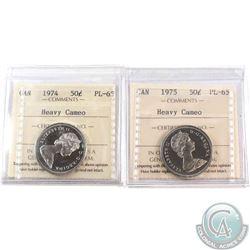 1974 & 1975 Canada 50-cent ICCS Certified PL-65. 2pcs