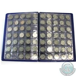 Estate lot of Canada Silver 10-cents dated Between 1915 and 1968 in Uni-Safe Folder. 89 pcs