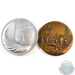 2x Lombardo Mint Commemorative Aluminium (71 mm Diameter) and Bronze (68 mm in Diameter) Quebec Meda
