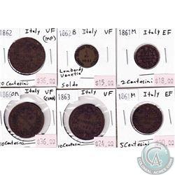 Estate Lot of 1862-1927 Italy Coinage Fine to AU. 8pcs
