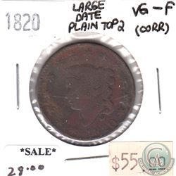 1820 Large Date Plain Top 2 USA Cent VG-F (VG-10) corrosion