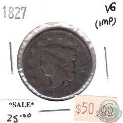 1827 USA Cent Very Good (VG-8) impaired