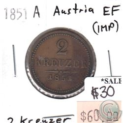 Austria 1851A 2 Kreuzer in Extra Fine (EF-40) Condition (impaired)