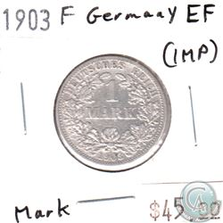 Germany 1903F 1 Mark Extra Fine (EF-40) impaired