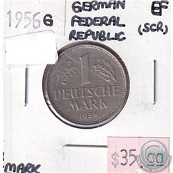 German Federal Republic 1956G 1 Mark Extra Fine (scratched)