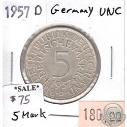 Germany 1957D 5 Mark Uncirculated