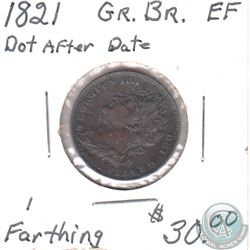 Great Britain 1821 1 Farthing Dot after Date Extra Fine
