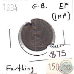 Great Britain 1834 Farthing Extra Fine (EF-40) impaired