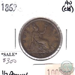 Great Britain 1869 Half Penny AU (Cleaned)