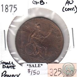 Great Britain 1875 Small Date Penny AU (Corrosion)