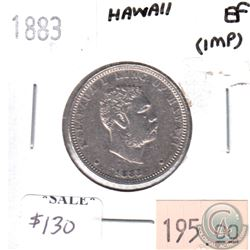 Hawaii 1883 1/4 Dollar in Extra Fine (EF-40) - impaired. Weighs 6.3g, .900 Silver