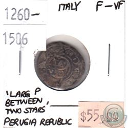 "Italy 1260-1506 Perugia Republic ""Large P Between Two Stars"" F-VF"