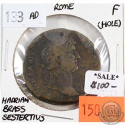 Rome 133 CE Hadrian Brass Sestertius Fine (holed)