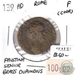 Rome 139 CE Brass Dupondius Faustina Senior Fine (corrosion)