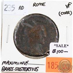 Rome 235 AD Brass Sestertius Maximinus Very Fine (corrosion)