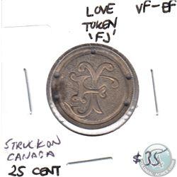 Love Token Struck on Victorian Canada 25-cent - FJ