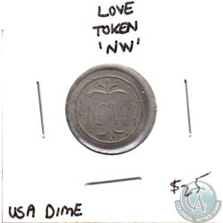 Love Token on USA Dime - initals NW