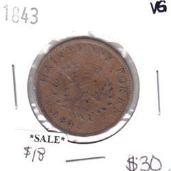 NS-1F4 1843 Nova Scotia Thistle Half Penny Token Very Good
