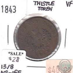 NS-1F5 1843 Nova Scotia Thistle Half Penny Token Very Fine