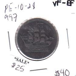 PE-10-28 Ships Colonies & Commerce Bank Token VF-EF
