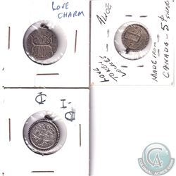 Lot of 3 x Various Love Tokens Struck on Victorian Era Canadian 5-cent & 10-cent Coins