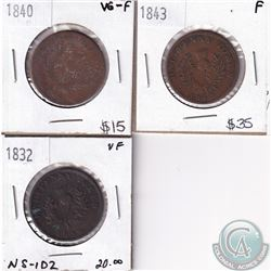 1832-1843 Bank Tokens, VG to Fine. 3pcs