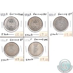 Germany 1935-1974 5-Marks (Holders Indicate Extra Fine or Better Conditions). 5Pcs