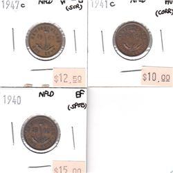 Group Lot of Newfoundland 1-cent: 1940 EF, 1941c AU & 1947c VF-EF (impaired) 3pcs