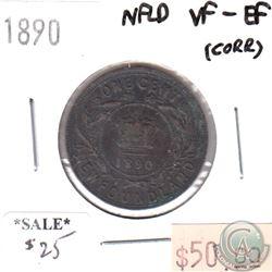 1890 Newfoundland 1-Cent VF-EF (light corrosion)