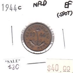 1944c Newfoundland 1-cent EF (spots)