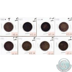 1882H-1904 Canada 1-cents Fine to Extra Fine (impaired). 8pcs