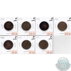 1904-1911 Canada 1-cents Extra Fine (impaired). 7pcs