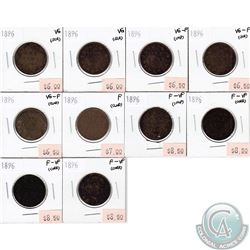 1896 Canada 1-cent VG to F-VF 10 pcs