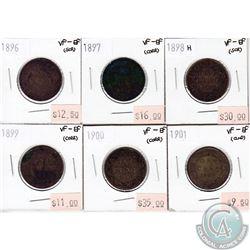 1896-1901 Canada 1-cent VF-EF (impaired) 6 pcs