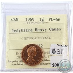 1969 Canada 1-cent ICCS Certified PL-66 Red; Ultra Heavy Cameo
