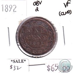1892 Canada 1-cent Obv 2 Very Fine (Cleaned)