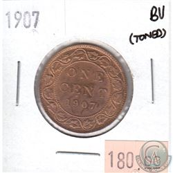 1907 Canada Large 1-cents Brilliant Uncirculated (MS-63) toned