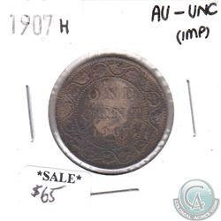 1907H Canada 1-cent AU-UNC (impaired)