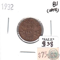 1932 Canada 1-cent Brilliant Uncirculated (MS-63) spots